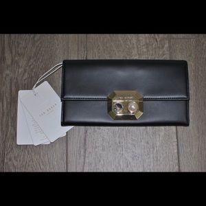 Ted Baker Pearl Lock Black Flap Matinee Wallet